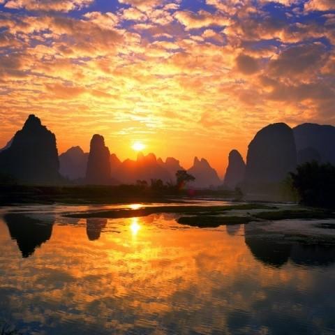 naturaleza-bella-atardecer china