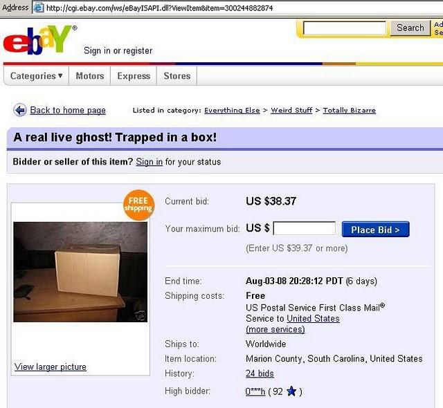 ebay fantasma caja atrapado subasta