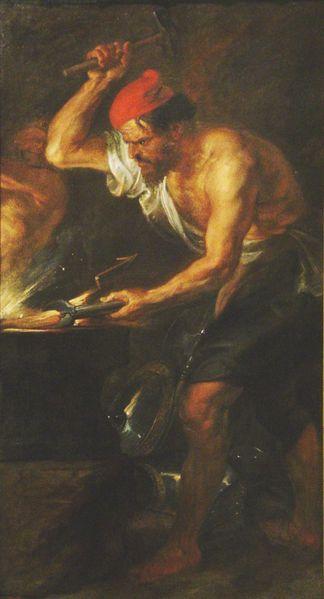 Vulcano forjando los rayos de Júpiter Rubens siglo XVII Museo del Prado Madrid