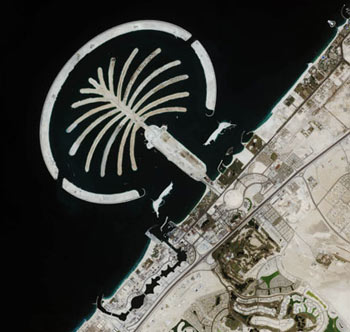satelite Isla artificial Palm Island Dubai