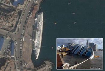 vista satelite barco crucero volcado tifon