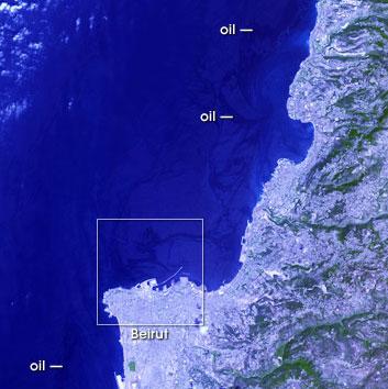 vista satelite mancha petroleo libano