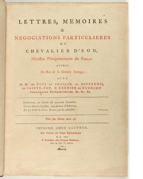 Chevalier d Eon libro