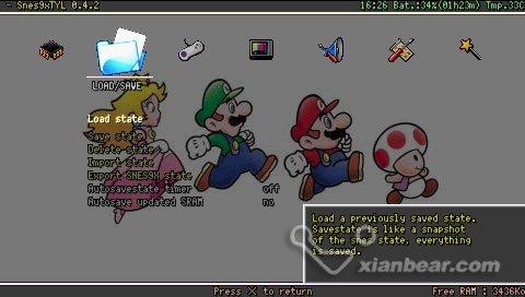 Snes9xTYL emulator psp super nintendo
