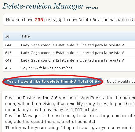 delete revision manager borrar revisiones wordpress