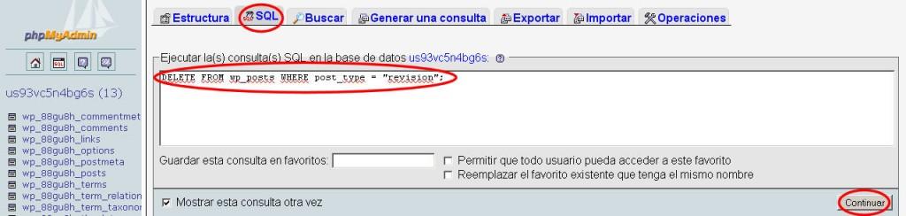 eliminar revisiones wordpress base datos sql phpmyadmin