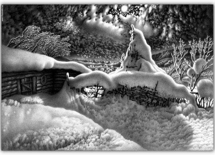 paisajes invernales nevados ilustraciones dibujos