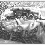 Ilustraciones de paisajes nevados e invernales