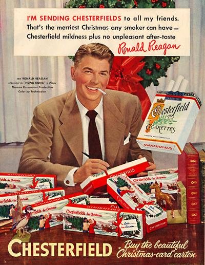 publicidad tabaco antigua chesterfield reagan