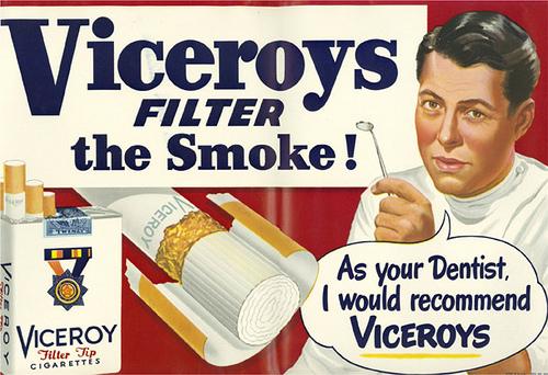 publicidad tabaco antigua dentistas recomiendan viceroy