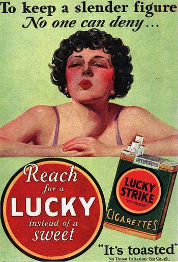 publicidad tabaco antigua lucky strike figura