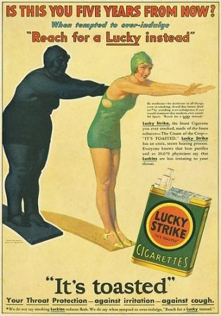 publicidad tabaco antigua lucky strike gorda delgada