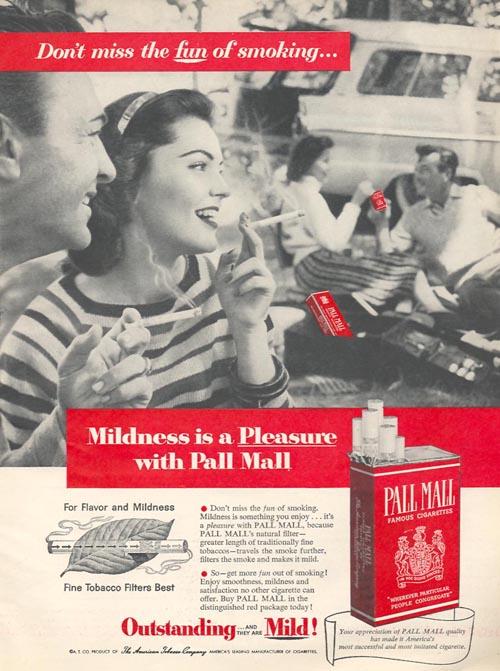 publicidad tabaco antigua pall mall alegria fumar