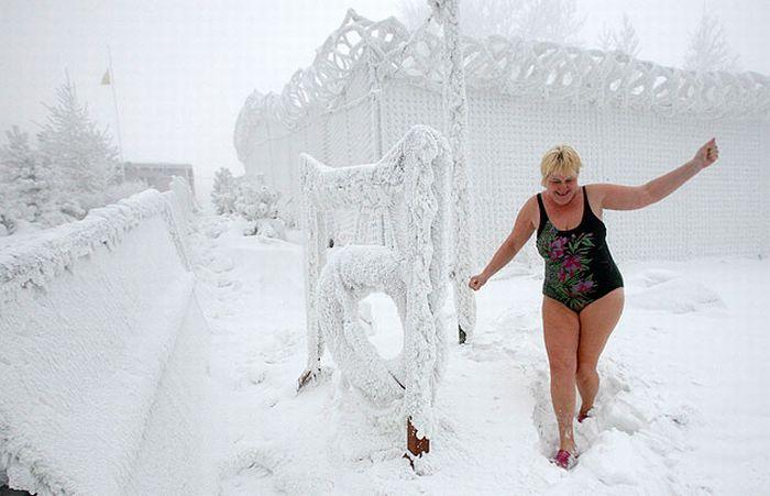 rusia siberia rio yenisei nieve bano banar