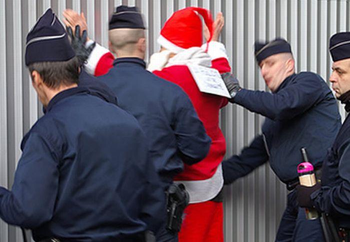 santa claus papa noel arrestado policia