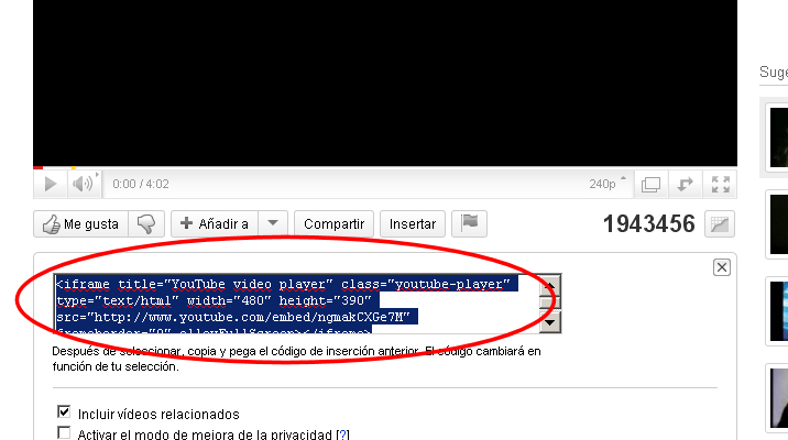 youtube embed incrustar video insertar