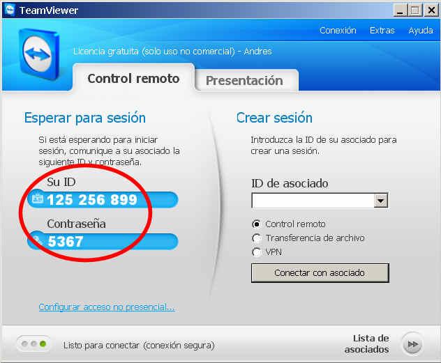 teamviewer escritorio remoto programa ID contrasena