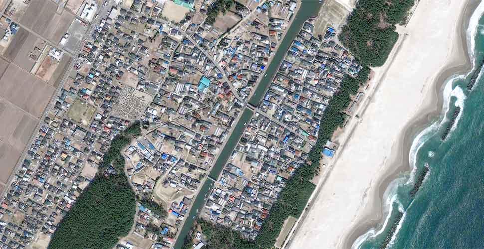 foto geoeye terremoto tsunami sendai satelite antes