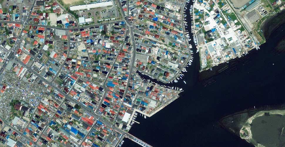 fotografia terremoto tsunami norte sendai vista satelite antes