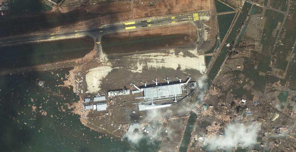 imagen geoeye terremoto tsunami sendai aeropuerto satelite despues