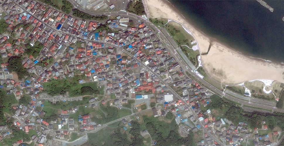 imagen geoeye terremoto tsunami sendai satelite antes