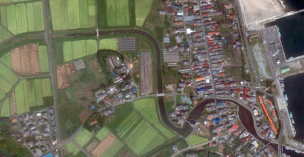 imagen terremoto tsunami costa sendai satelite antes