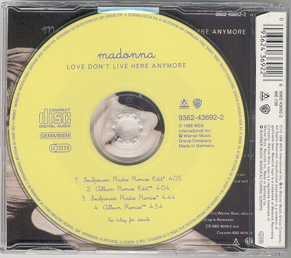 madonna love don t live here anymore alemania germany cd single sencillo