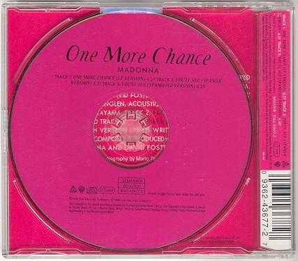 madonna one more chance single sencillo alemania germany CD back