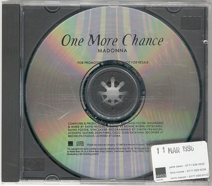 madonna one more chance single sencillo reino unido uk promo