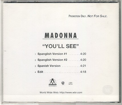 madonna you'll see USA single sencillo promo