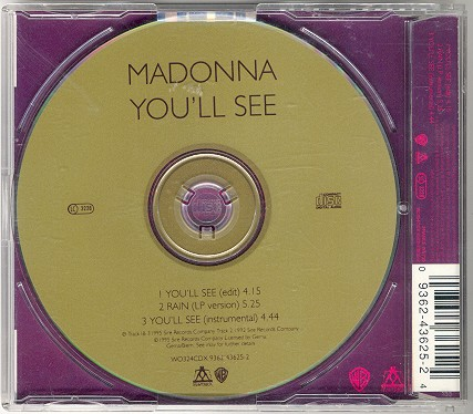 madonna you  ll see single sencillo Reino Unido uk CD