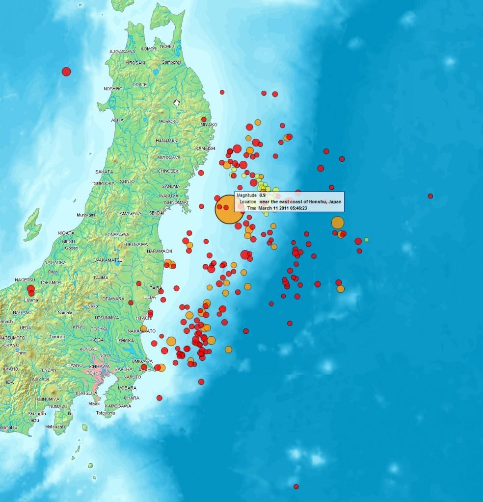 mapa terremoto japon 2011 sendai tsunami