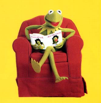 rana frog kermit gustado leyendo reading