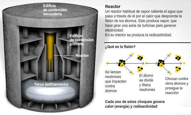 reactor nuclear fision esquema secundario confinamiento