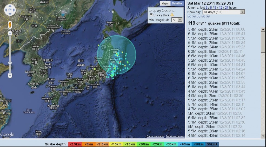 terremotos japon seismos mapa video recreacion