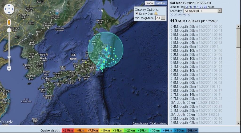 terremotos japon seismos mapa video recreacion