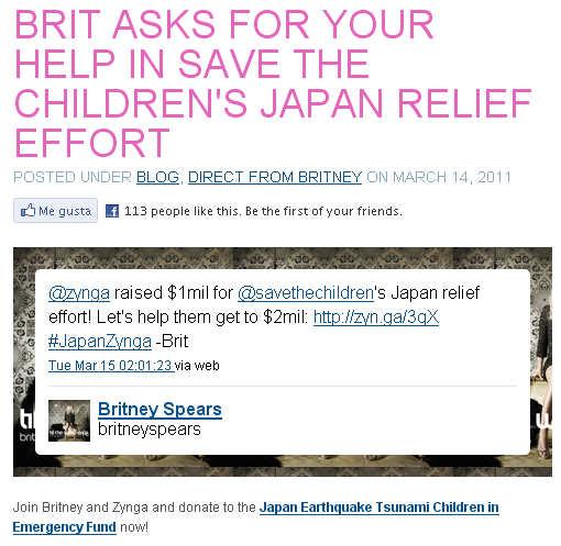 twitter britney spears terremoto japon