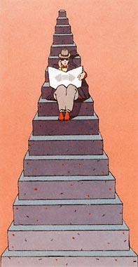 Istvan Banyai man in the stairs