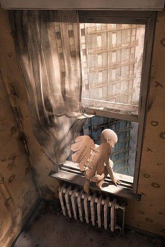 imagenes-arte-angel-madera-ventana