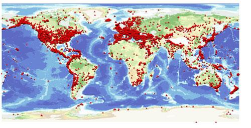 mapa mundial estaciones sismograficas