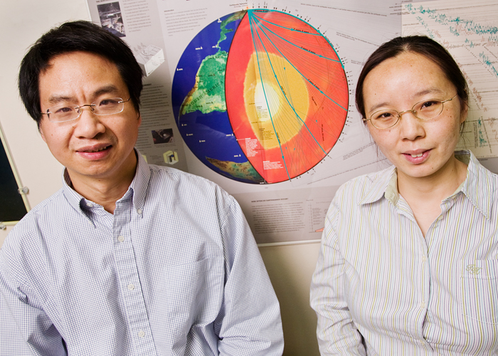 Xiadong Song, professor of geology, with postdoc Xinlei Sun