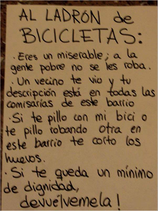 cartel nota ladron bicicletas