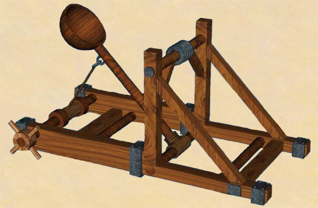 catapulta arma atacar antigua guerra