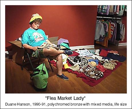 duane hanson escultura figura flea market lady