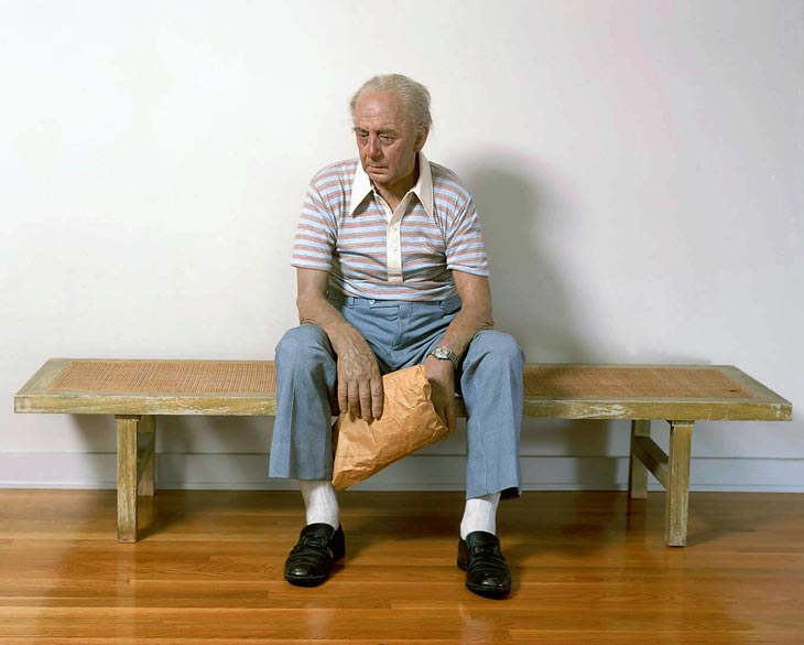 duane hanson escultura figura man bench