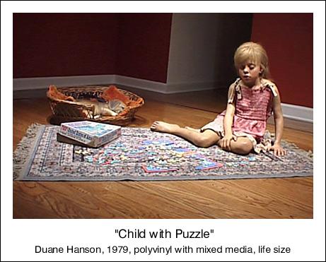 duane hanson escultura figura nina puzzle