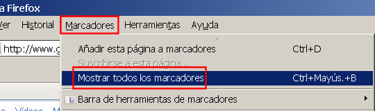 guardar salvar marcadores favoritos firefox 1