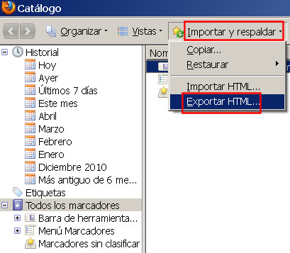 guardar salvar marcadores favoritos firefox 2