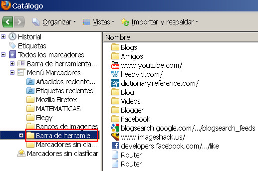 guardar salvar marcadores favoritos firefox 7