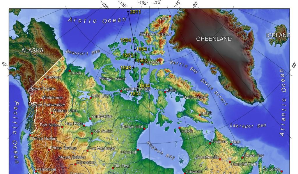 mapa polo norte magnetico movimiento
